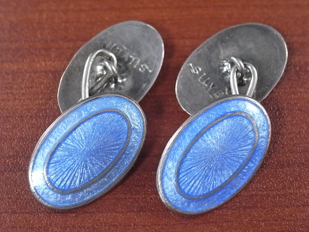 ヴィンテージ カフリンクス チェーン式 シルバー/エナメルのメイン写真