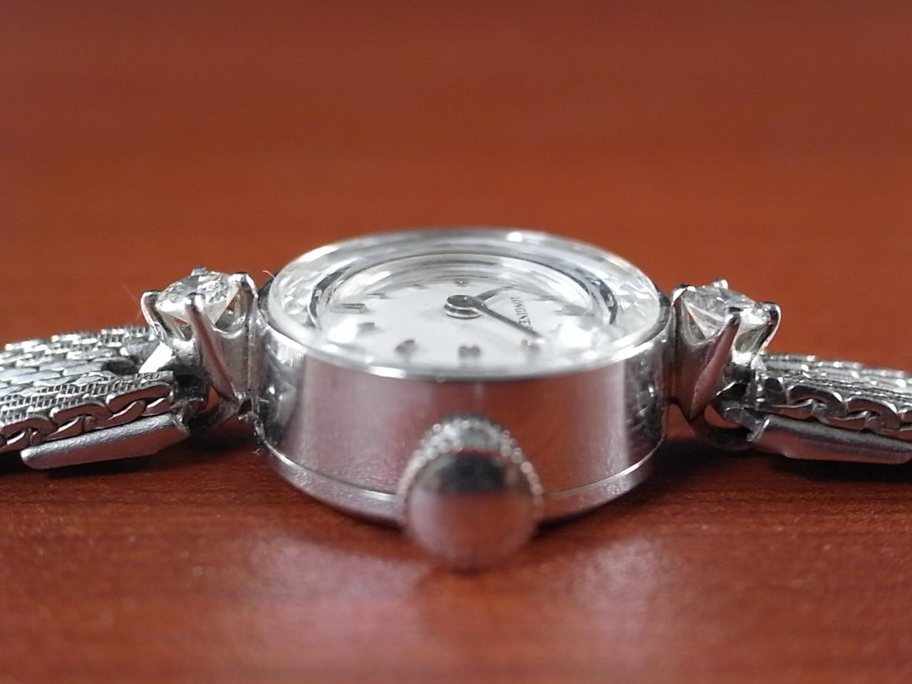 ロンジン レディス 14金無垢 ホワイトゴールド カットガラス ダイヤモンド の写真3枚目