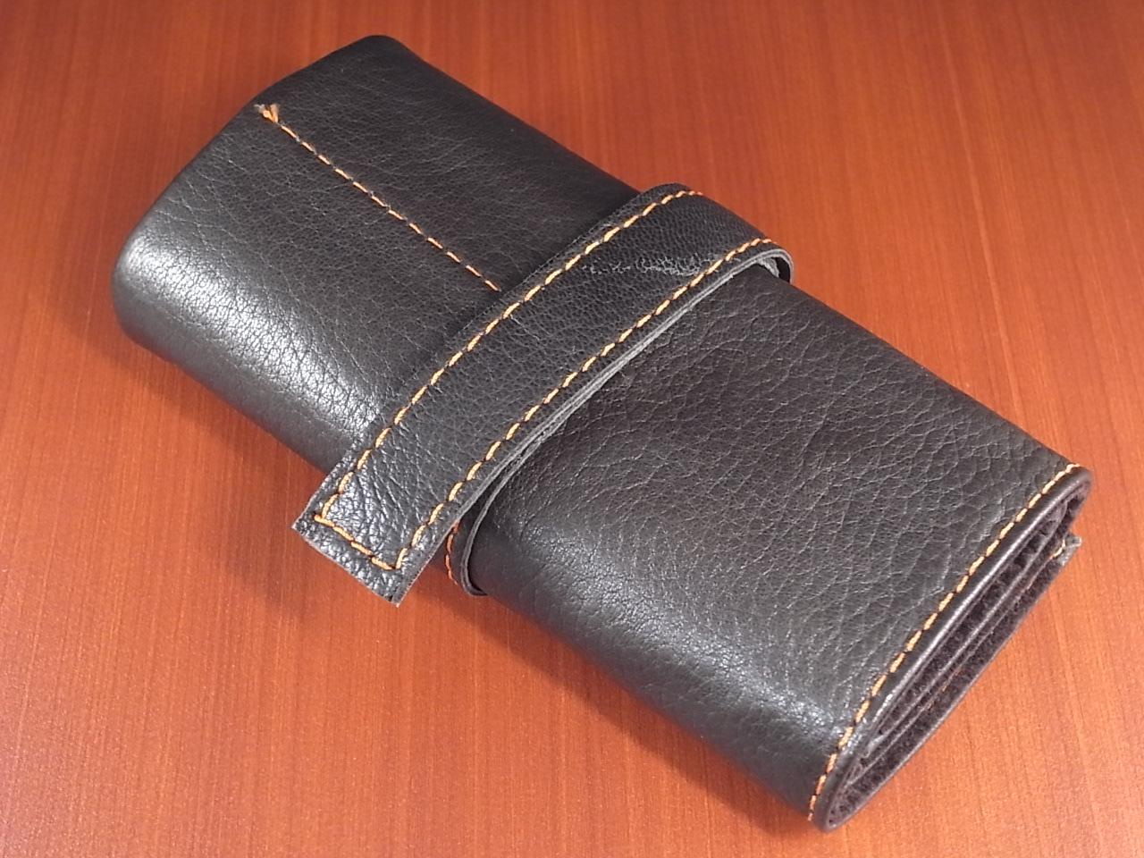本革時計ケース 携帯タイプ 6本用 イタリア製 こげ茶 オレンジステッチのメイン写真