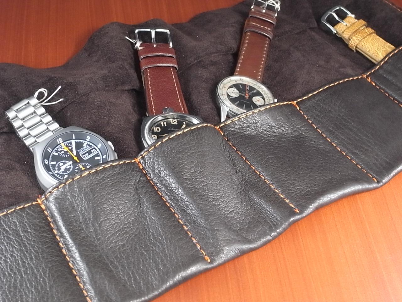 本革時計ケース 携帯タイプ 6本用 イタリア製 こげ茶 オレンジステッチの写真2枚目