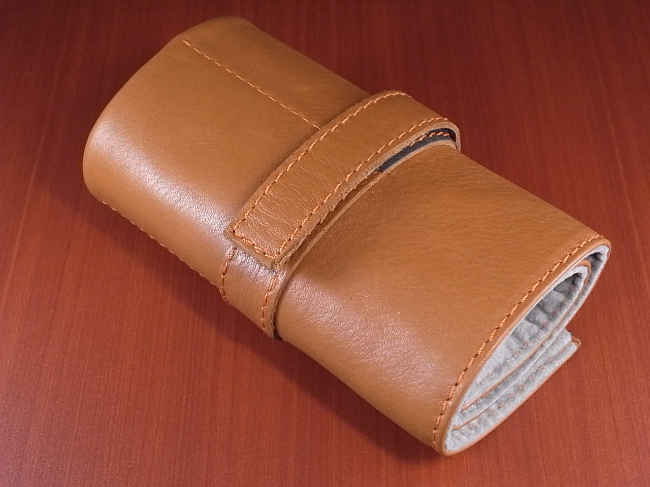 本革時計ケース 携帯タイプ 6本用 イタリア製 茶 オレンジステッチのメイン写真