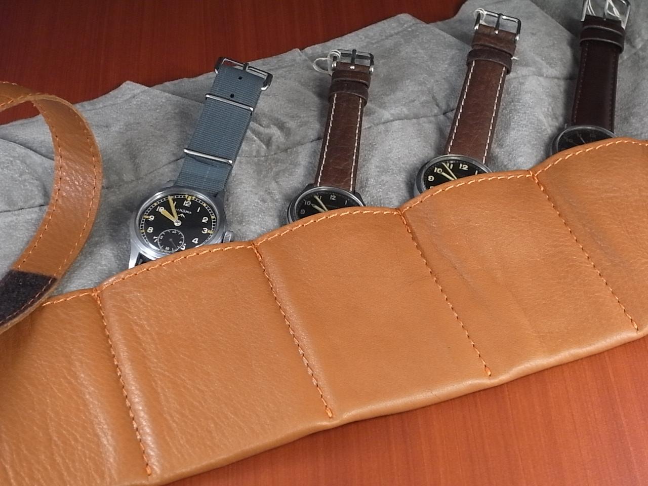 本革時計ケース 携帯タイプ 6本用 イタリア製 茶 オレンジステッチの写真2枚目