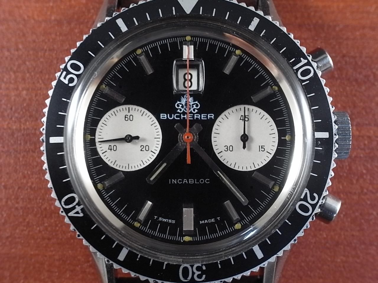 ブッフェラー BUCHERER クロノグラフ 2レジスター ブラックミラーDL 1970年代の写真2枚目