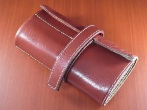 本革時計ケース 携帯タイプ 6本用 イタリア製 赤茶 白ステッチ