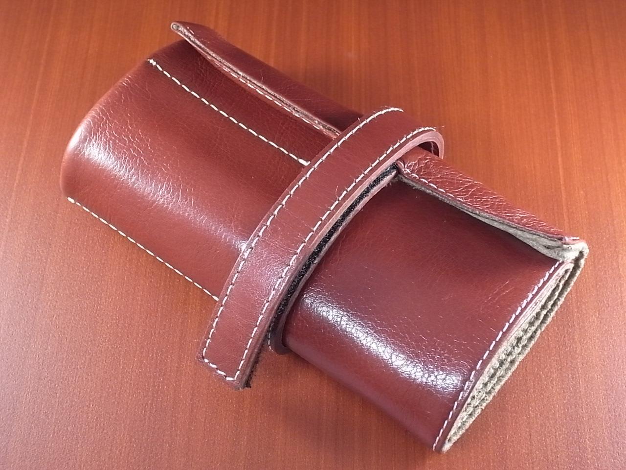 本革時計ケース 携帯タイプ 6本用 イタリア製 赤茶 白ステッチのメイン写真