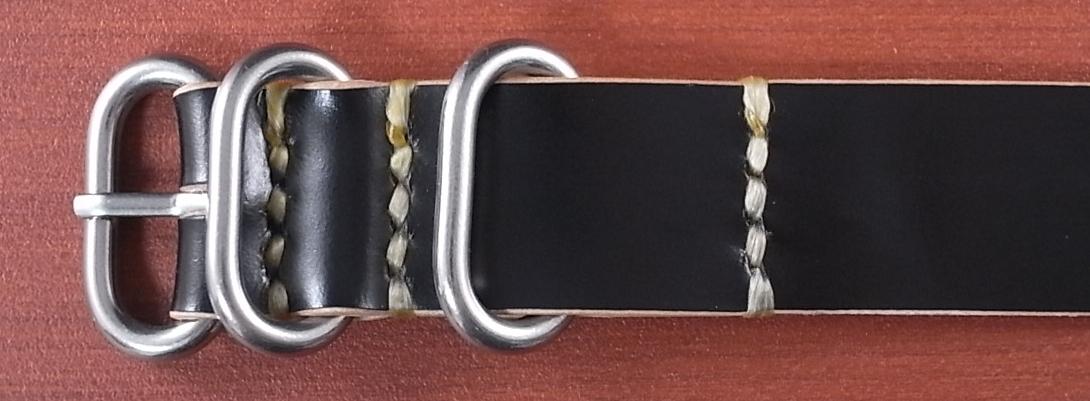国産コードバン 引通し革ベルト ブラック