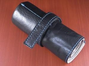 本革時計ケース 携帯タイプ 6本用 イタリア製 黒 青ステッチ
