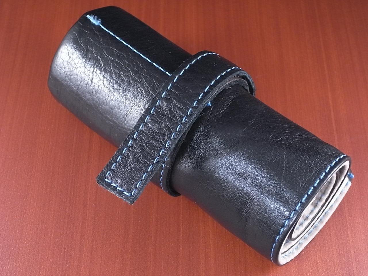 本革時計ケース 携帯タイプ 6本用 イタリア製 黒 青ステッチのメイン写真