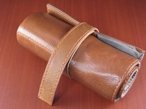 本革時計ケース 携帯タイプ 6本用 イタリア製 金茶 オレンジステッチ