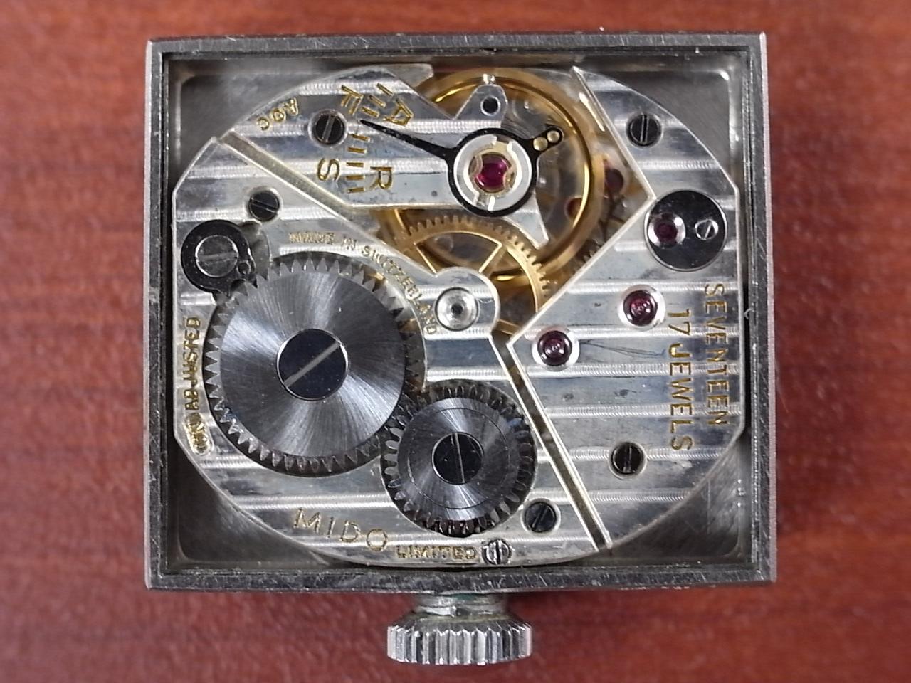 ミドー レクタンギュラー 角型スライド防水ケース グレーダイアル 1940年代の写真5枚目