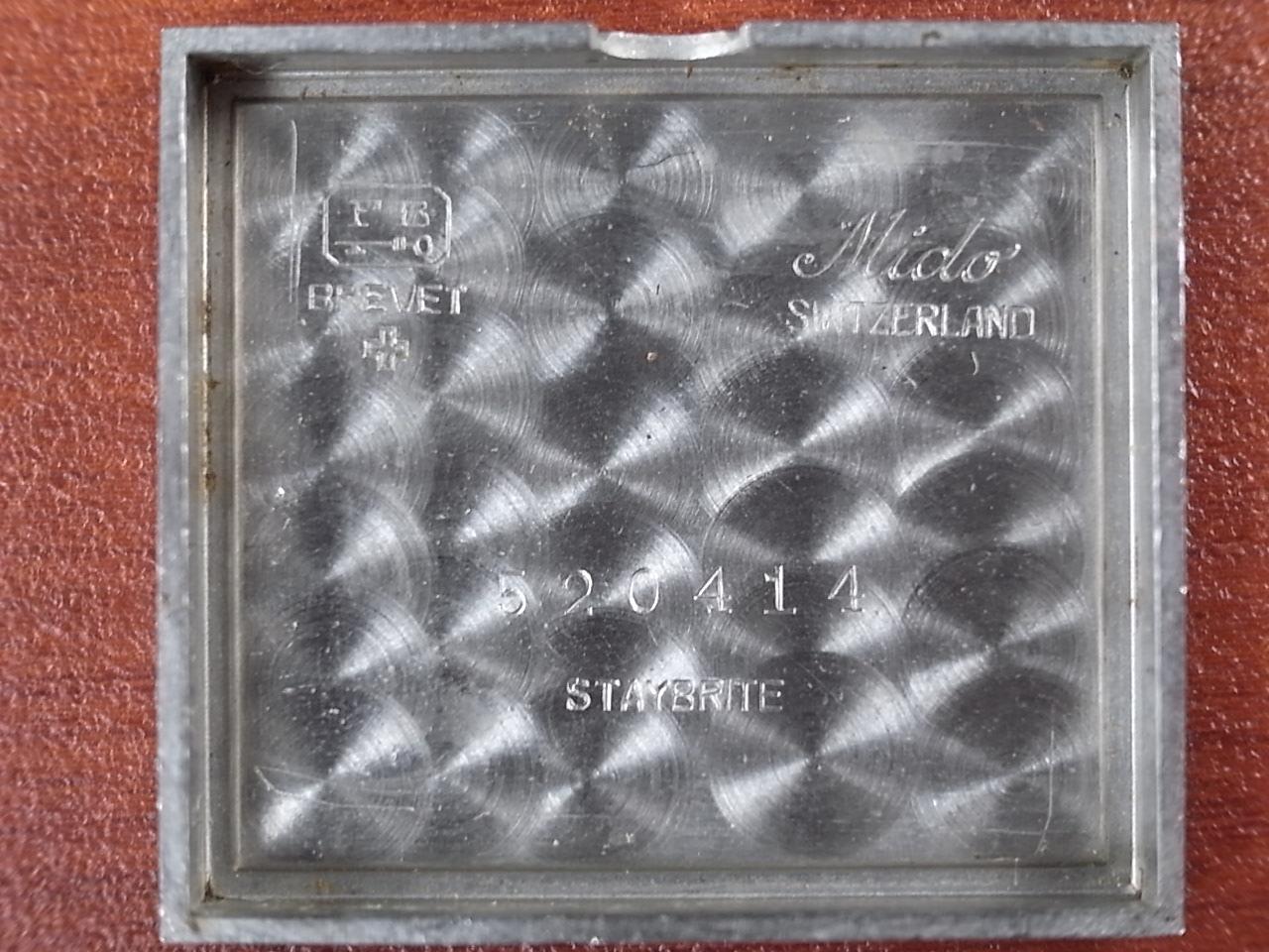ミドー レクタンギュラー 角型スライド防水ケース グレーダイアル 1940年代の写真6枚目