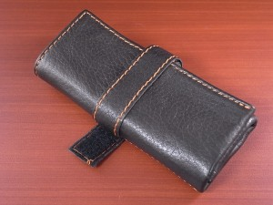 本革時計ケース 携帯タイプ 3本用 イタリア製 焦茶 オレンジステッチ