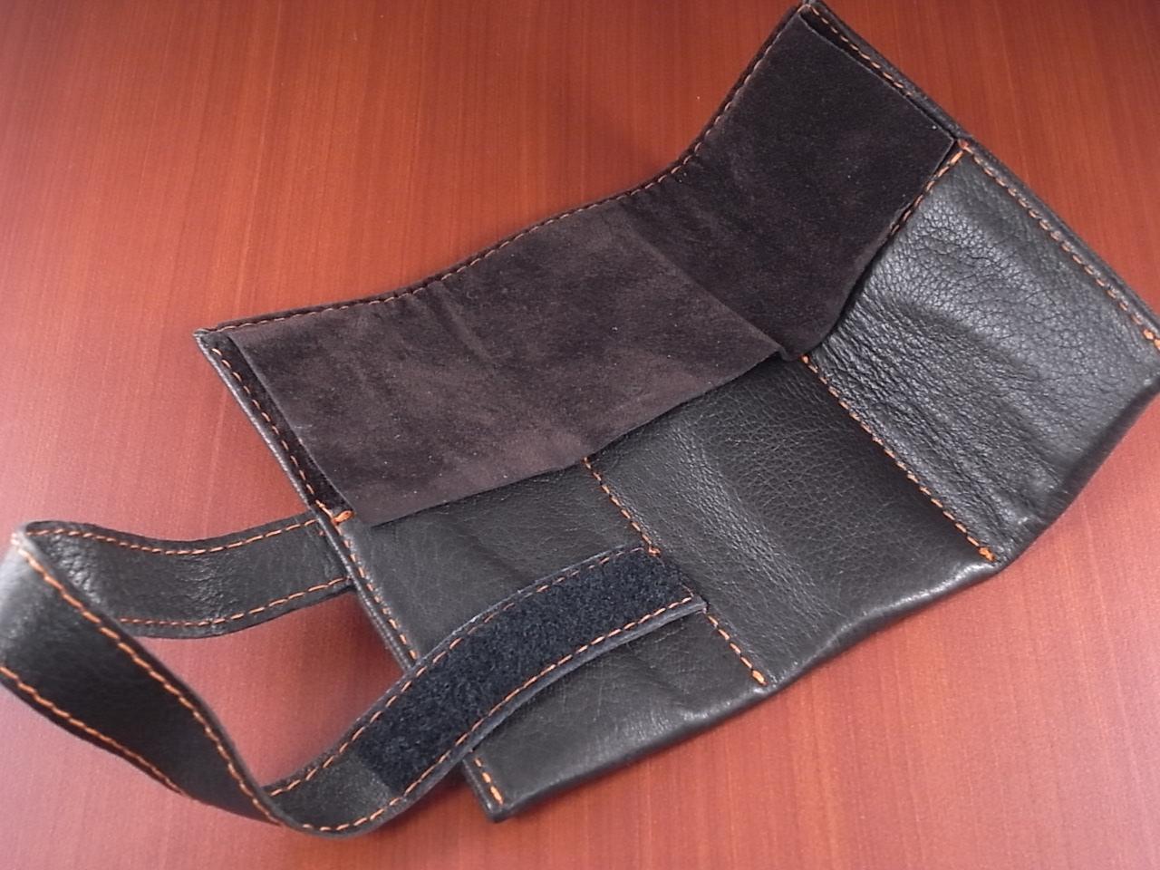 本革時計ケース 携帯タイプ 3本用 イタリア製 焦茶 オレンジステッチの写真2枚目