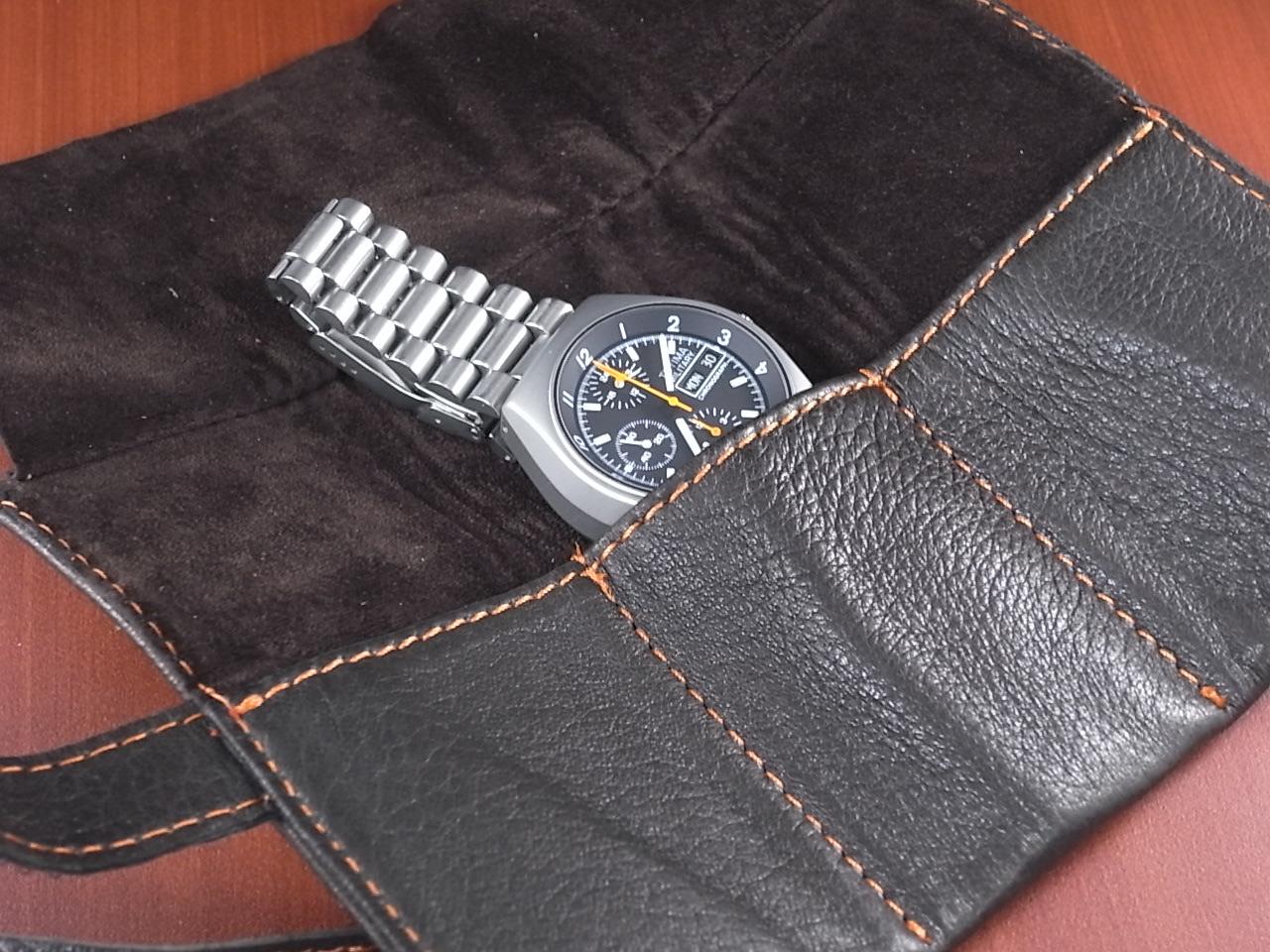 本革時計ケース 携帯タイプ 3本用 イタリア製 焦茶 オレンジステッチの写真4枚目