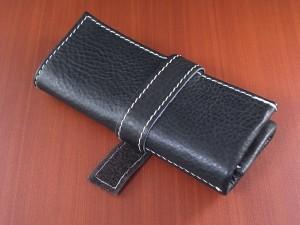 本革時計ケース 携帯タイプ 3本用 イタリア製 黒 白ステッチ