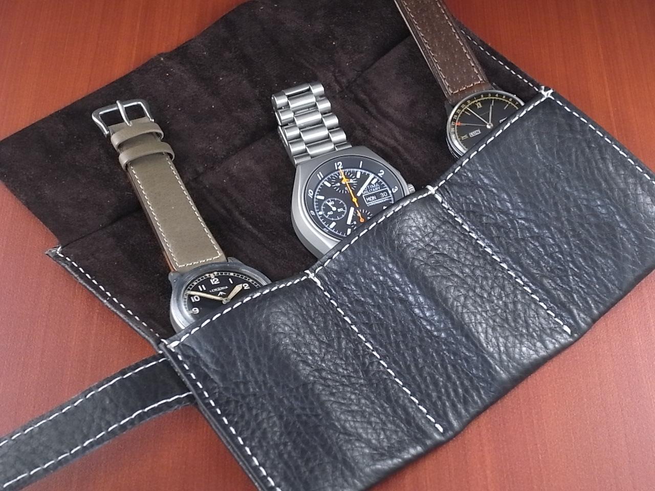 本革時計ケース 携帯タイプ 3本用 イタリア製 黒 白ステッチの写真4枚目