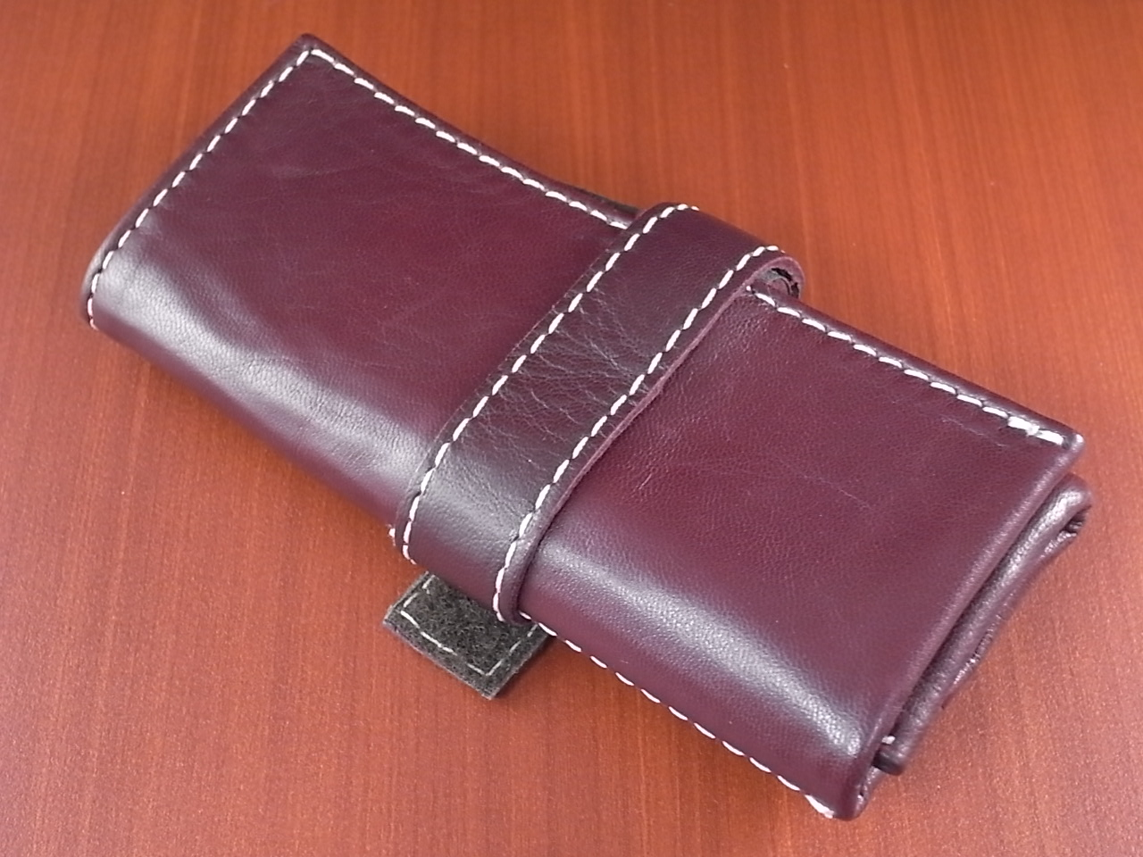 本革時計ケース 携帯タイプ 3本用 イタリア製 ボルドー 白ステッチのメイン写真