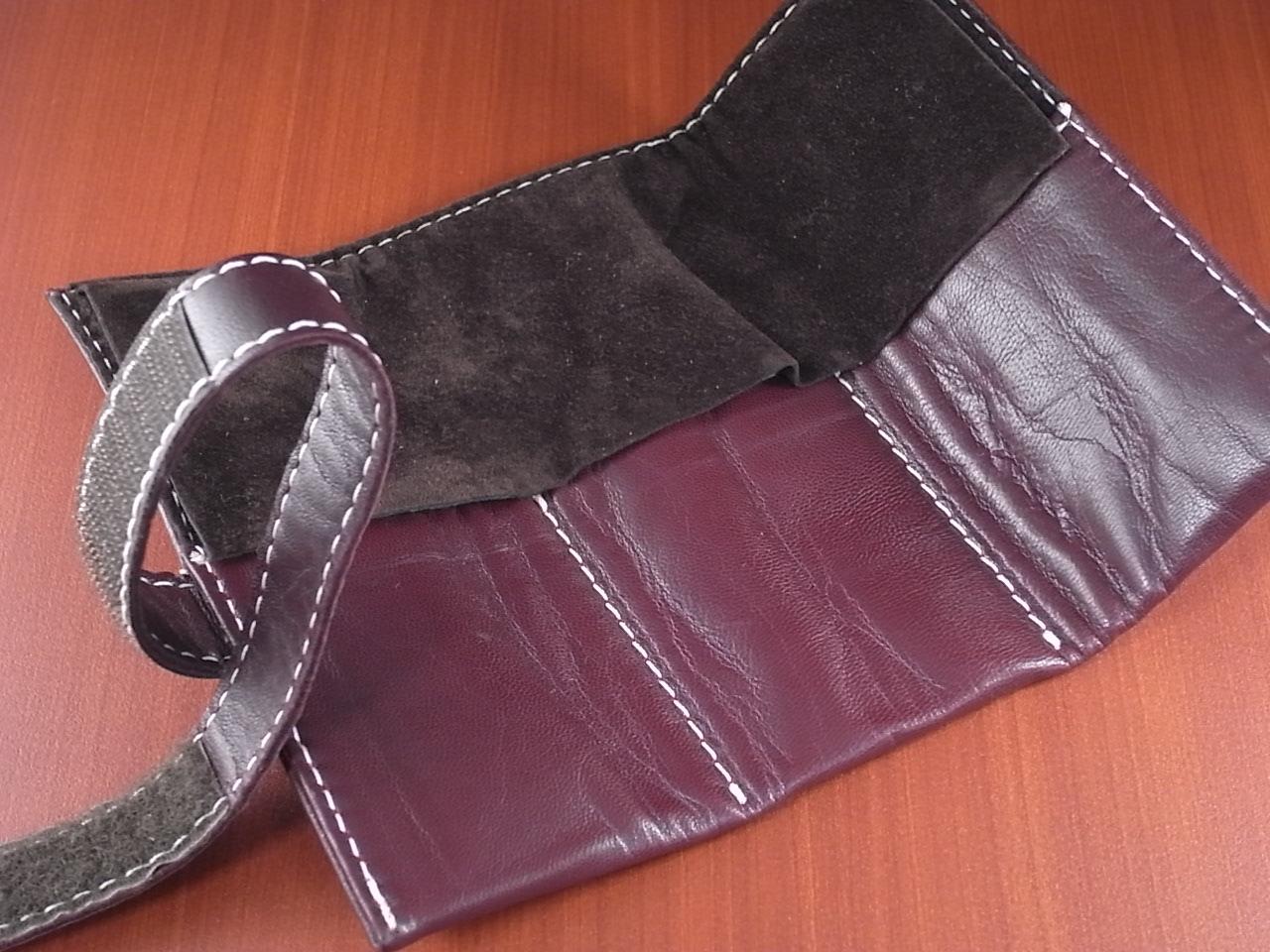本革時計ケース 携帯タイプ 3本用 イタリア製 ボルドー 白ステッチの写真2枚目