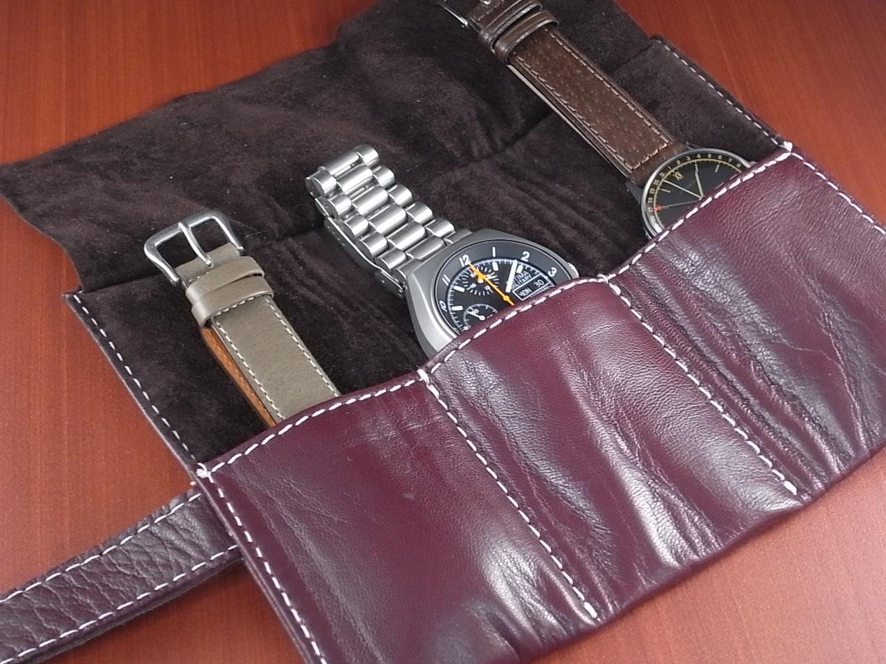 本革時計ケース 携帯タイプ 3本用 イタリア製 ボルドー 白ステッチの写真4枚目