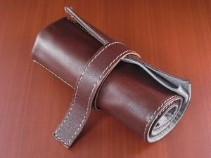 本革時計ケース 携帯タイプ 6本用 イタリア製 茶 生成ステッチ