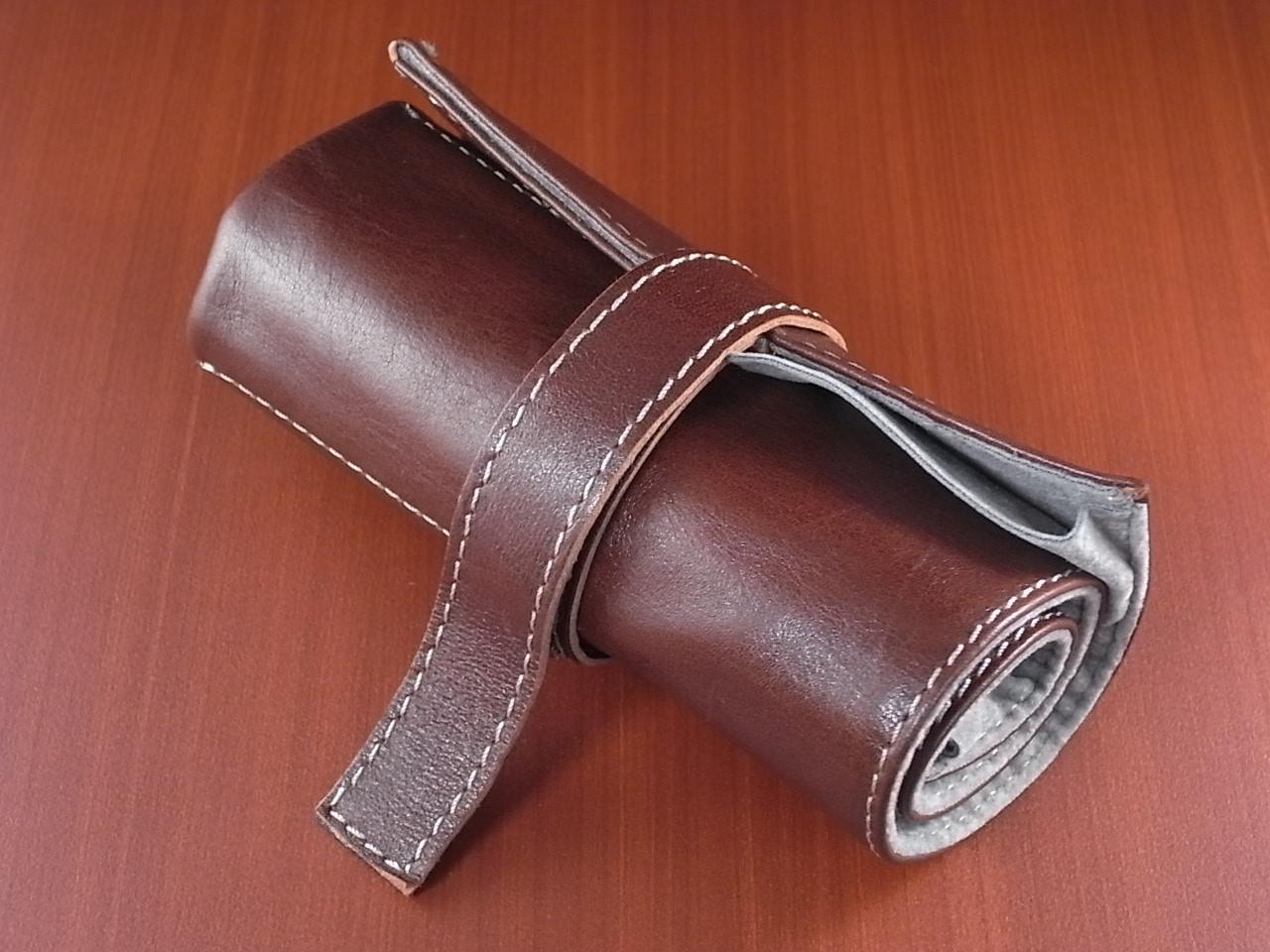 本革時計ケース 携帯タイプ 6本用 イタリア製 茶 生成ステッチのメイン写真