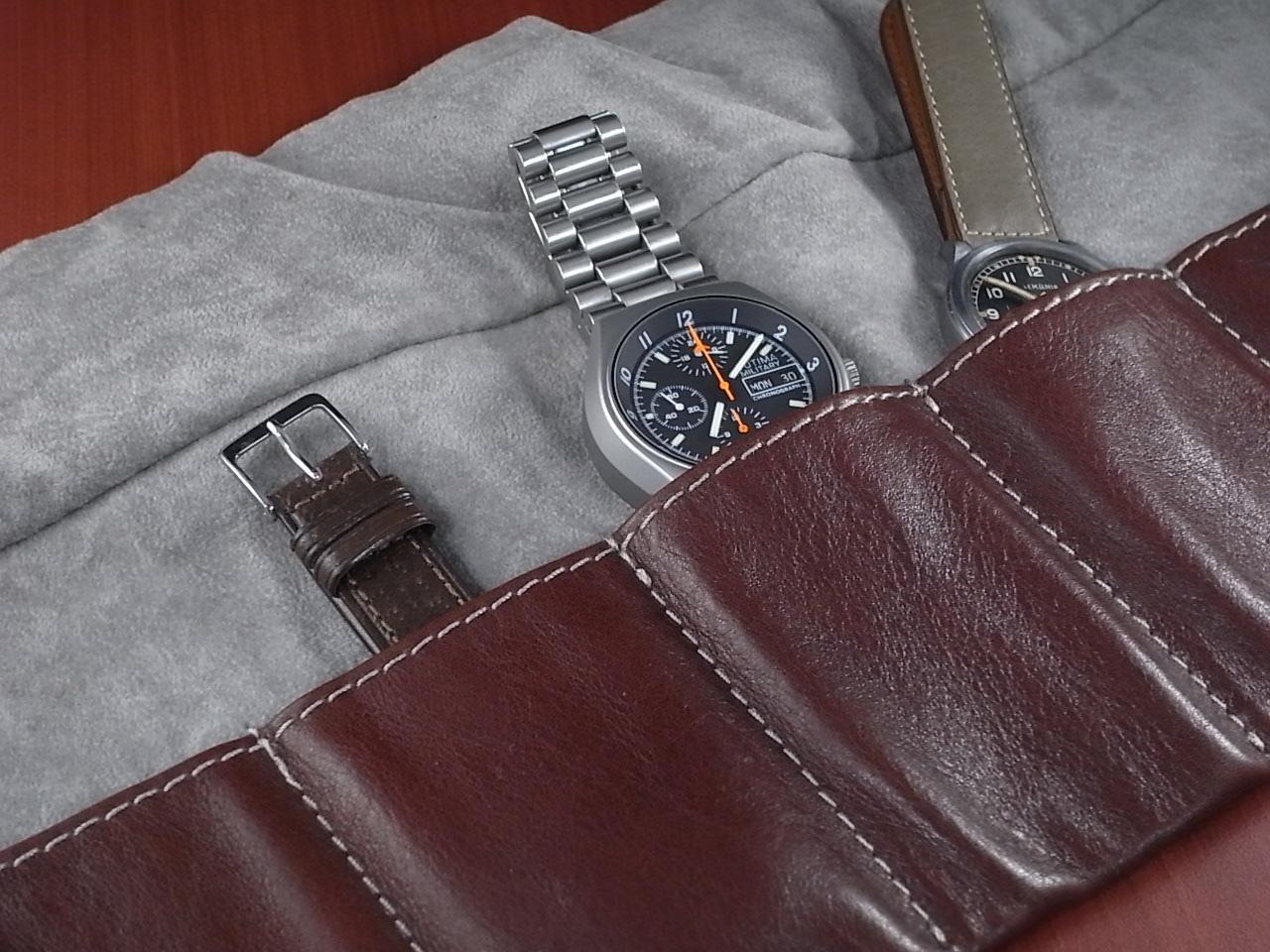 本革時計ケース 携帯タイプ 6本用 イタリア製 茶 生成ステッチの写真3枚目