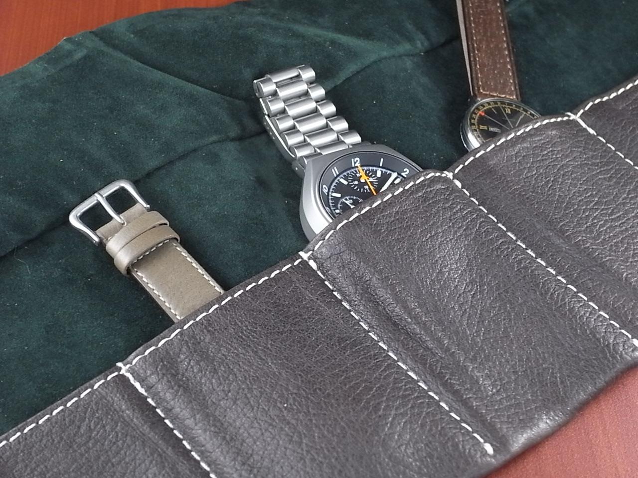 本革時計ケース 携帯タイプ 6本用 イタリア製 焦茶 生成ステッチの写真3枚目