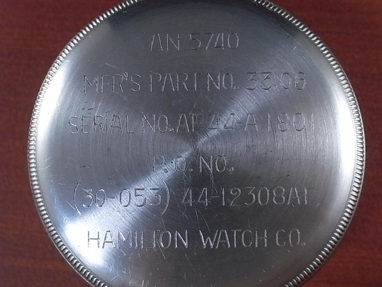 ハミルトン ミリタリー 24Hポケットウォッチ AN5740 NOSショックアブソーバー付 1940年代の写真4枚目