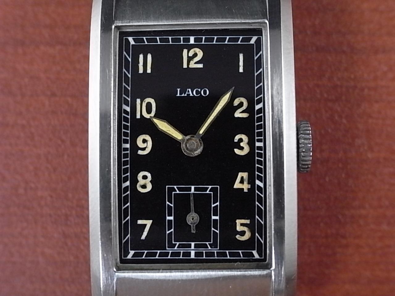 LACO  ラコ レクタンギュラー ブラックミラーダイアル バンブーブレス付 1930年代の写真2枚目