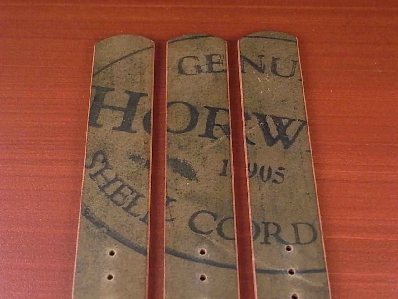 ホーウィン コードバン 引き通し革ベルト ブラック 17~24mm 受注生産の写真6枚目