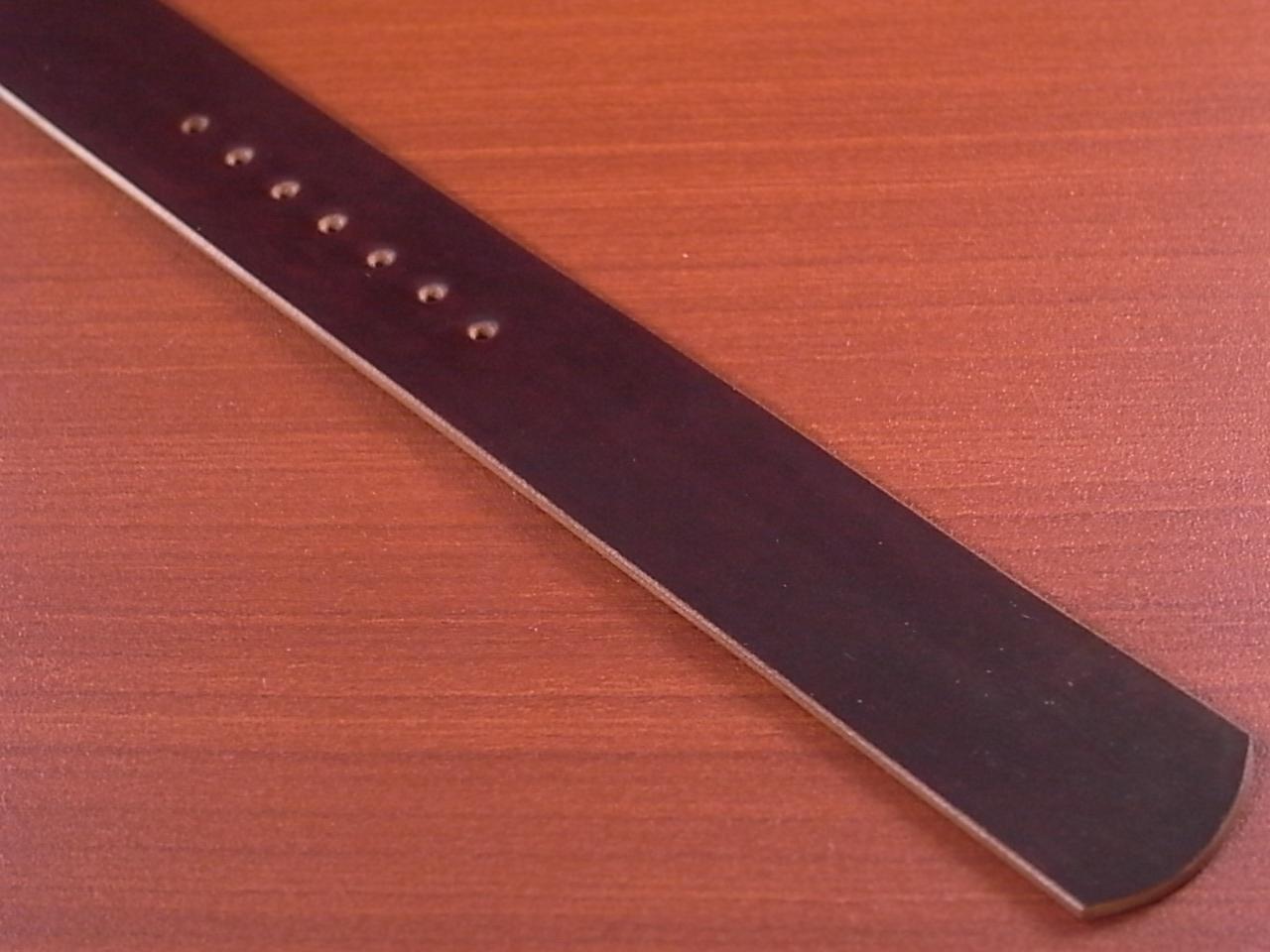 ホーウィン コードバン 引き通し革ベルト バーガンディ 17~24mm 受注生産の写真5枚目