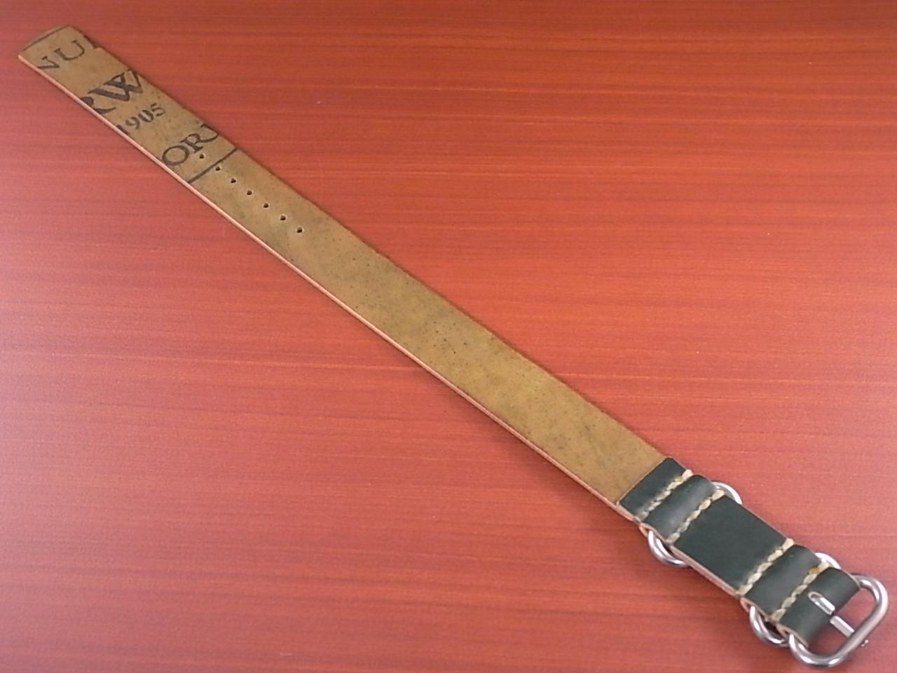 ホーウィン コードバン 引き通し革ベルト グリーン 17~24mm 受注生産の写真2枚目
