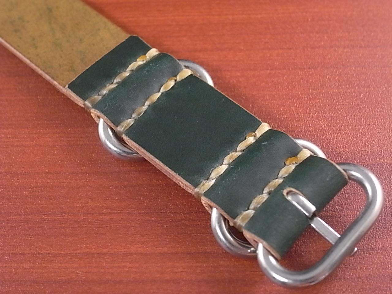 ホーウィン コードバン 引き通し革ベルト グリーン 17~24mm 受注生産の写真4枚目