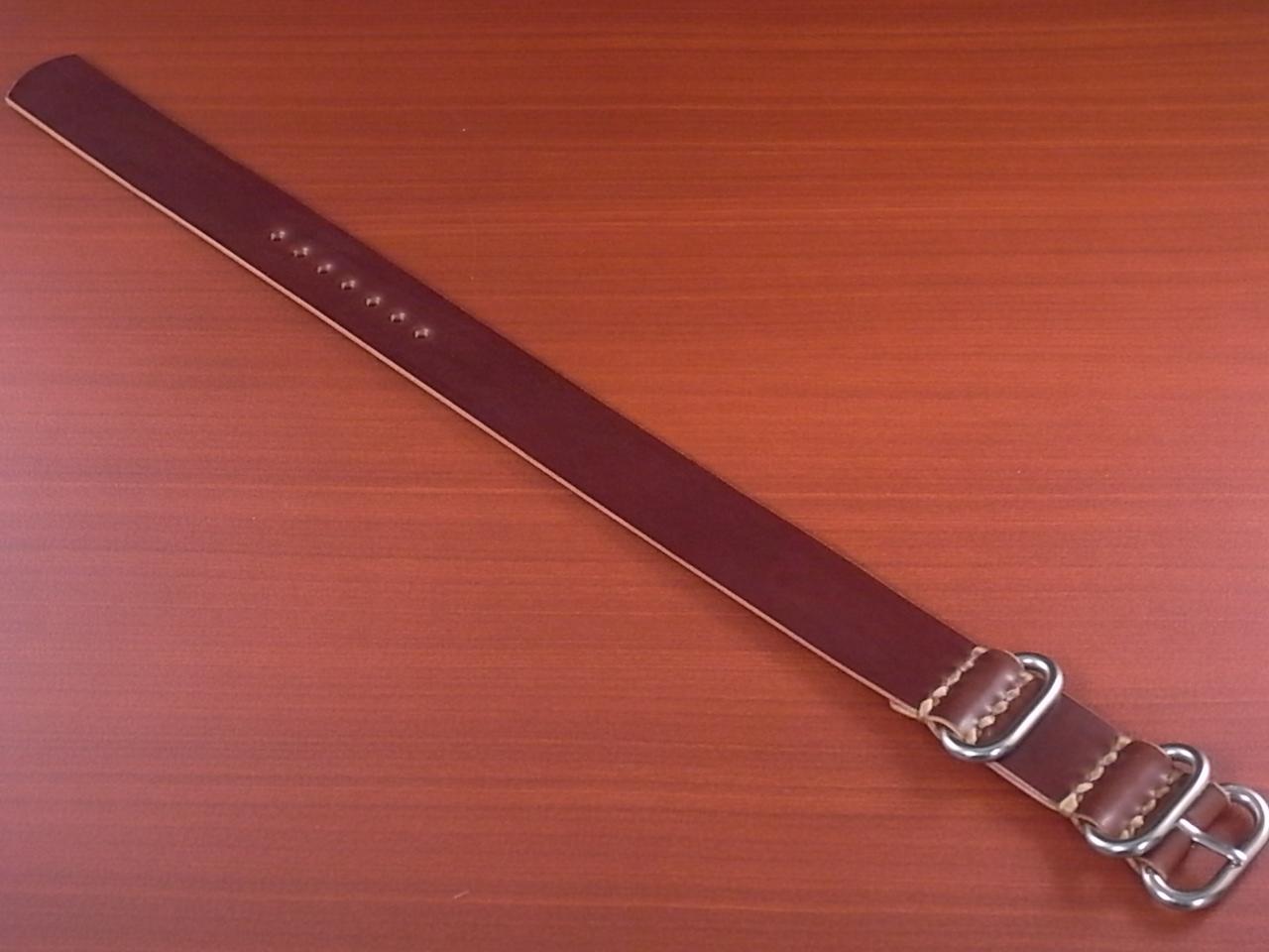 ホーウィン コードバン 引き通し革ベルト No.4(赤茶) 17~24mm 受注生産のメイン写真