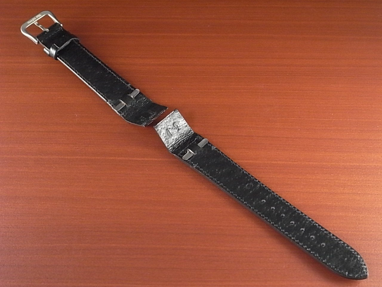 ピッグ革ベルト オープンエンド 黒 16、18mm CSA-001bの写真2枚目
