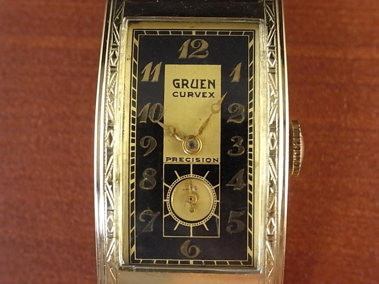 グリュエン カーベックス Cal.330 2トーンダイアル ブラック/ゴールド 1930年代の写真2枚目