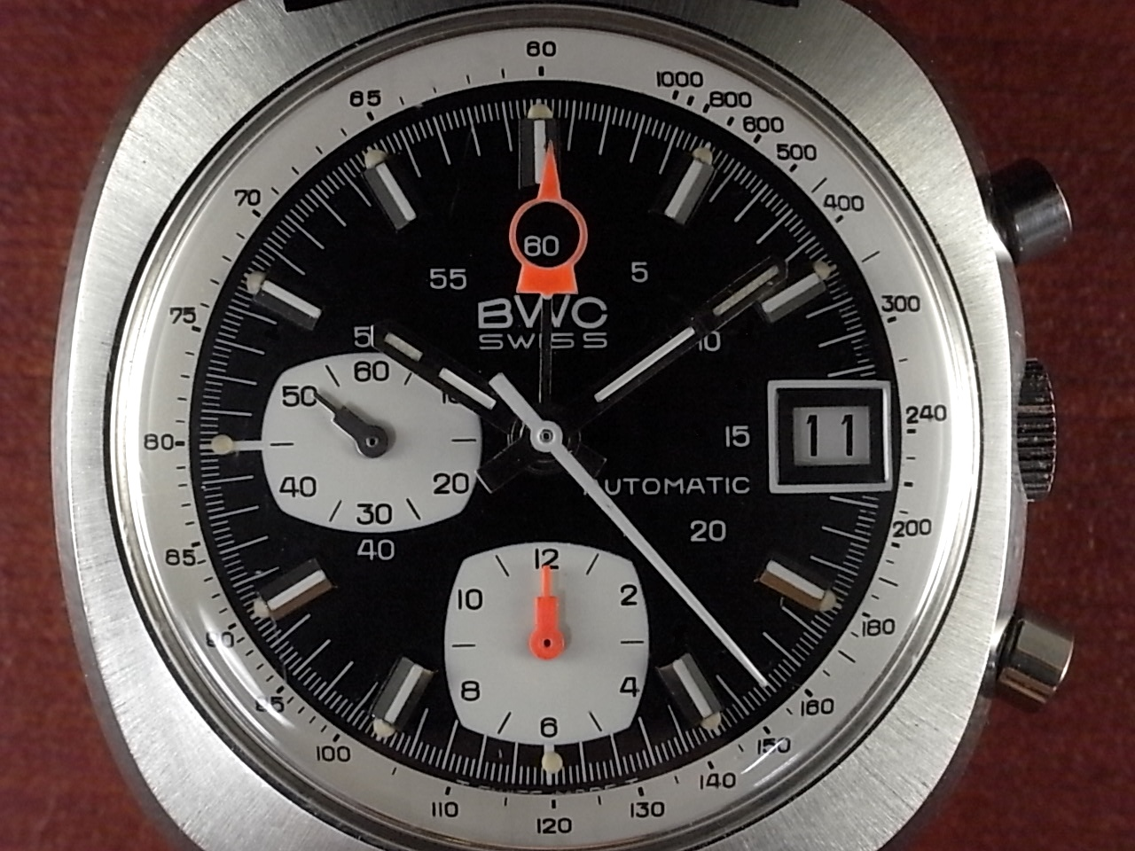 BWC クロノグラフ オートマチック レマニアCal.1340 ミントコンディション 1970年代の写真2枚目