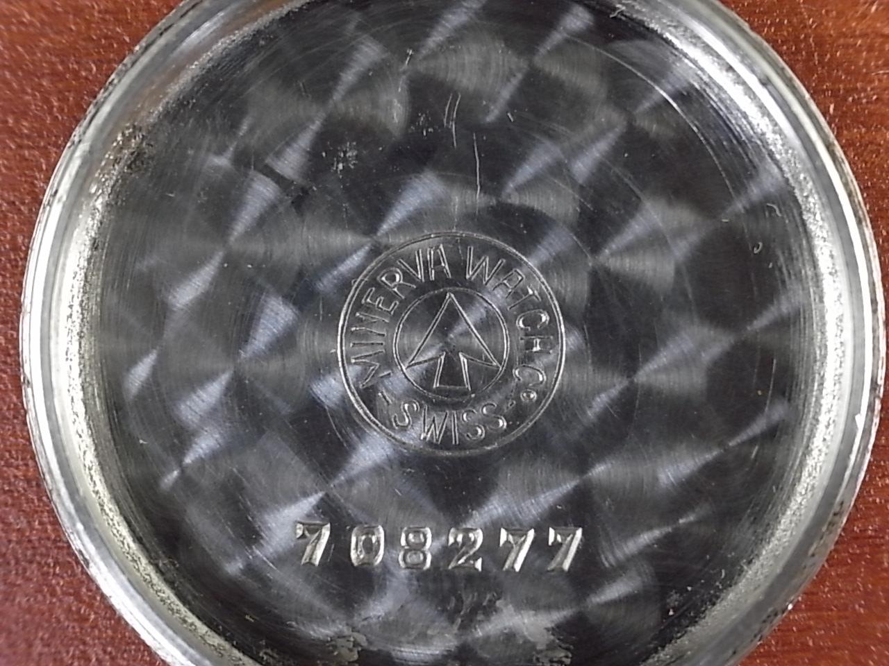 ミネルバ ブラックミラーダイアル キャリバー49 スクリューバック 1950年代の写真6枚目