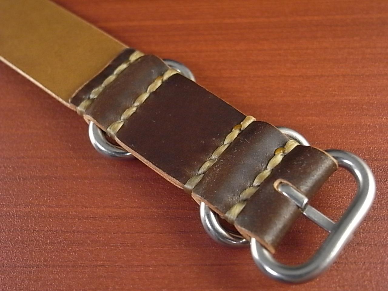 ホーウィン コードバン 引き通し革ベルト ダークコニャック 17~24mm 受注生産の写真4枚目
