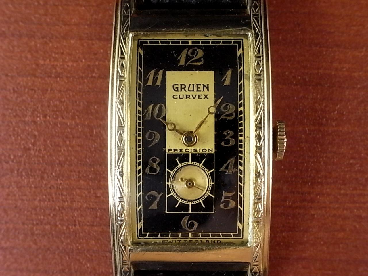 グリュエン カーベックス ブラック/ゴールド 2トーンダイアル Cal.330 1930年代 の写真2枚目