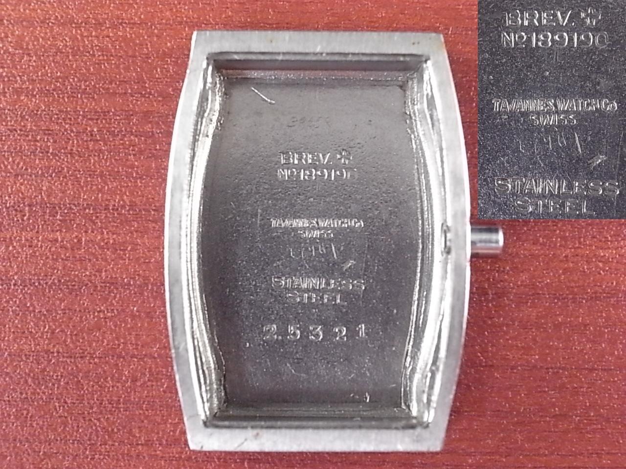 タバン トノー4つビス防水ケース ボンクリップ バンブーブレス付き 1940年代の写真6枚目