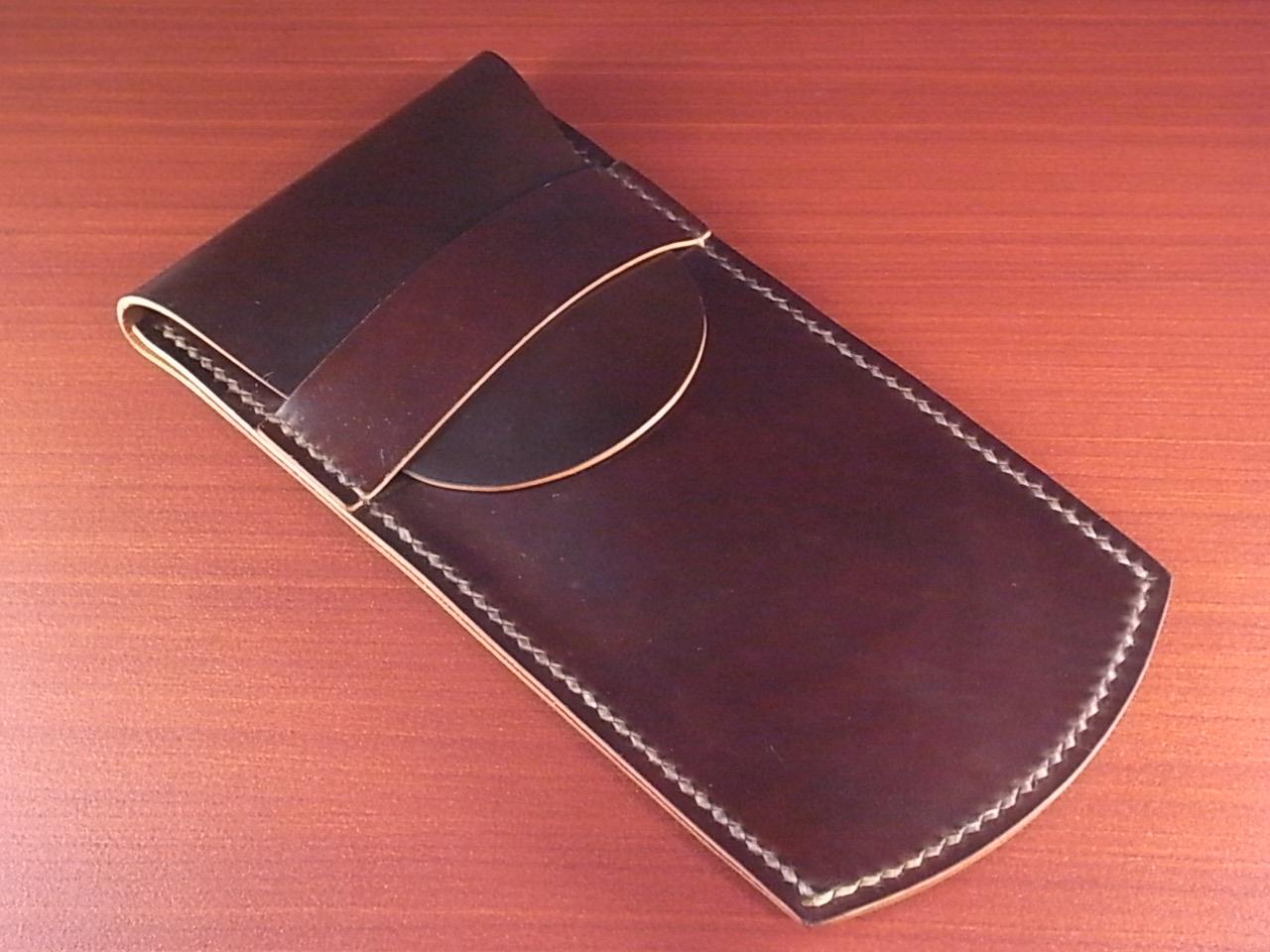 受注生産 高級時計ケース 1本入り携帯用 ホーウィン シェルコードバンのメイン写真