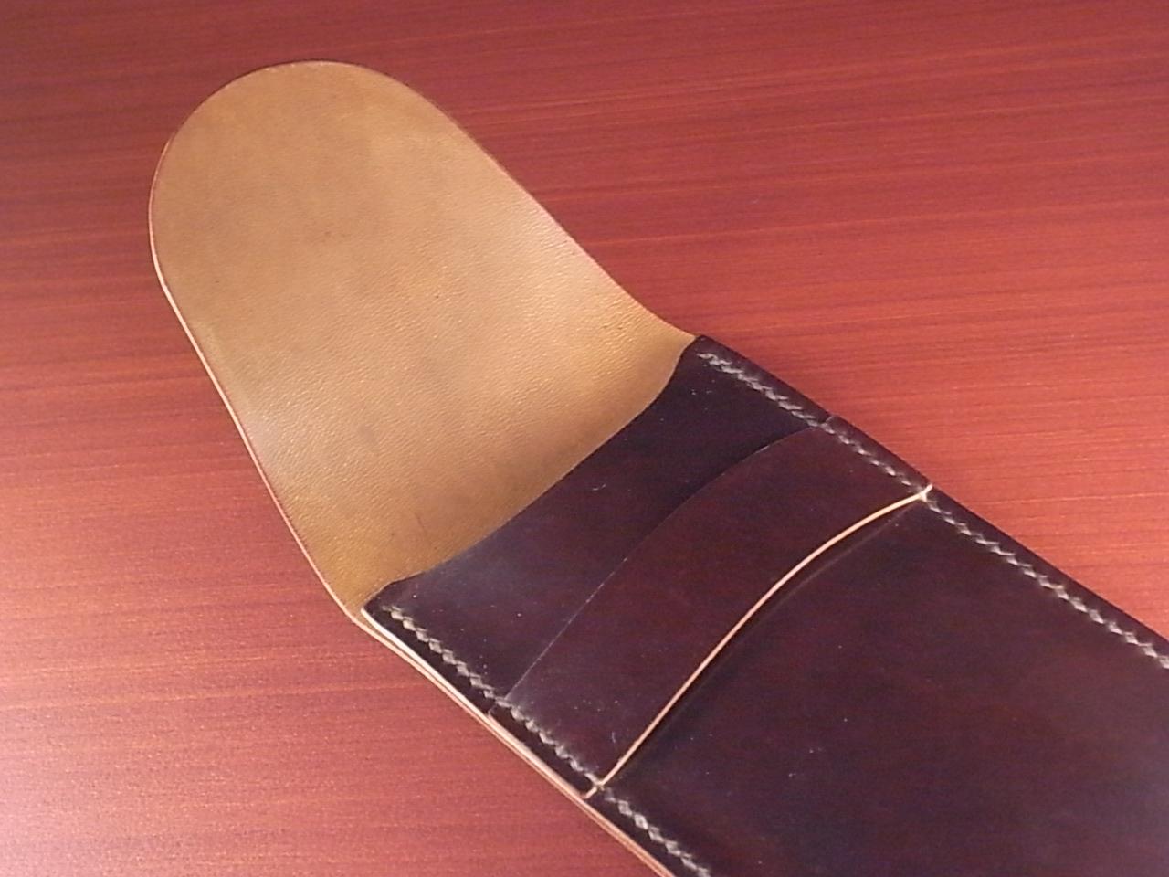 受注生産 高級時計ケース 1本入り携帯用 ホーウィン シェルコードバンの写真3枚目