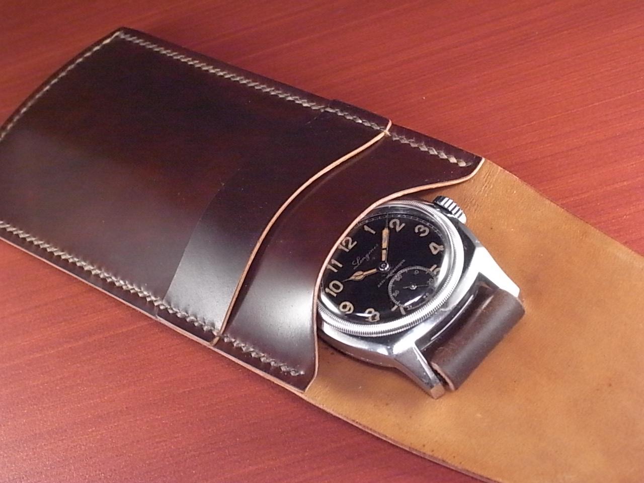 受注生産 高級時計ケース 1本入り携帯用 ホーウィン シェルコードバンの写真6枚目