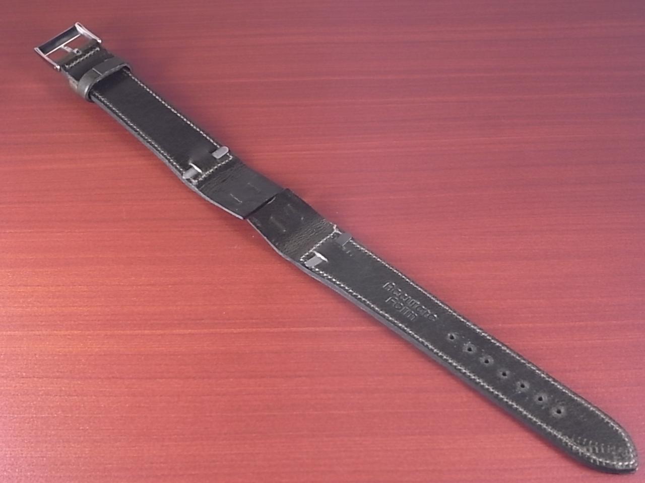 艶ありヌメ牛ステア オープンエンド 革ベルト オリーブ 16、18、20mm CC-032bの写真2枚目