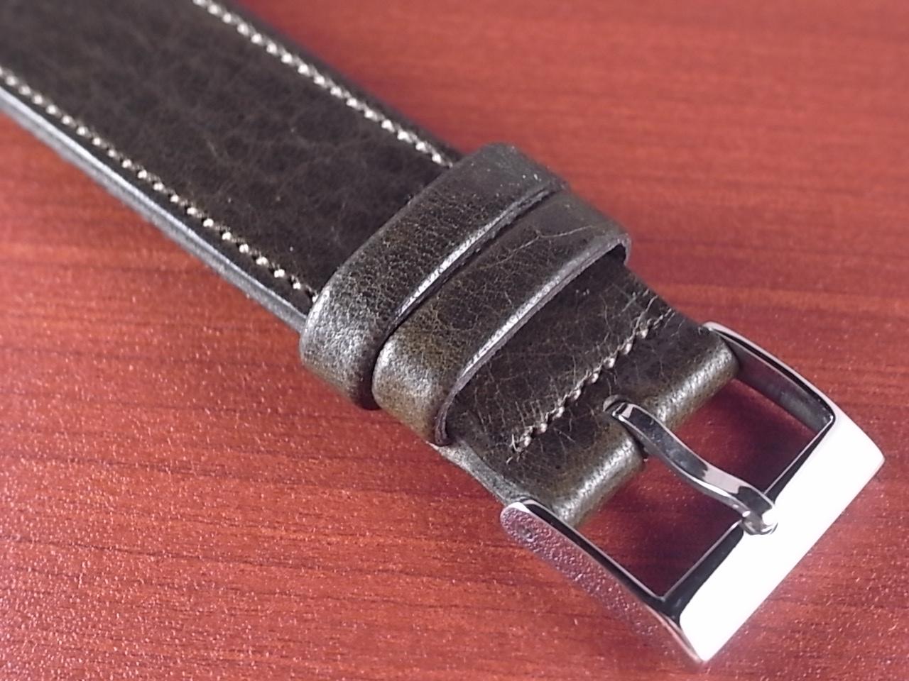 艶ありヌメ牛ステア オープンエンド 革ベルト オリーブ 16、18mm CC-032bの写真3枚目