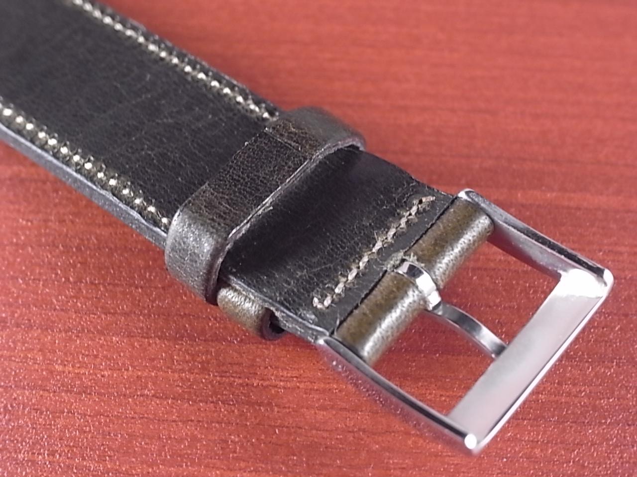 艶ありヌメ牛ステア オープンエンド 革ベルト オリーブ 16、18、20mm CC-032bの写真4枚目