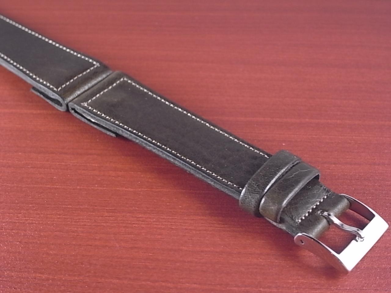 艶ありヌメ牛ステア オープンエンド 革ベルト オリーブ 16、18、20mm CC-032bの写真6枚目