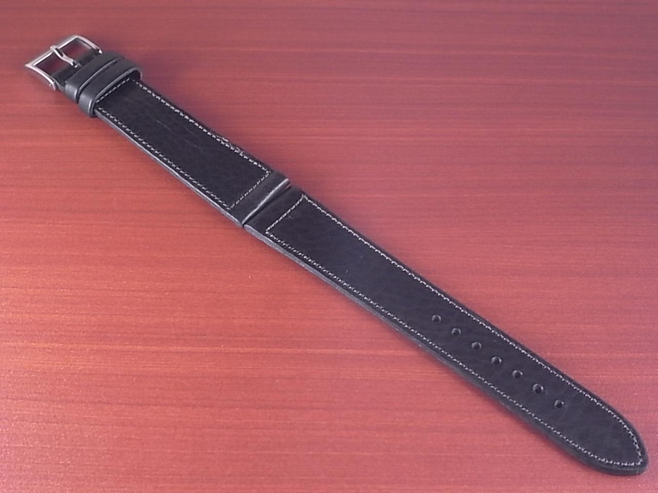艶ありヌメ牛ステア 革ベルト ブラック 16、17、18、19、20、21、22mm CC-034aのメイン写真
