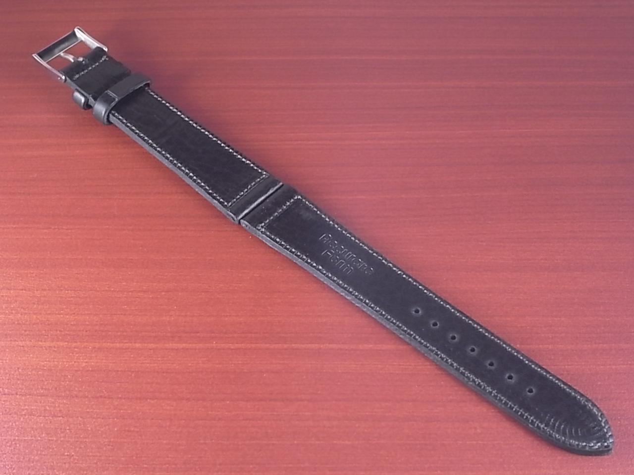 艶ありヌメ牛ステア 革ベルト ブラック 16、17、18、19、20、21、22mm CC-034aの写真2枚目